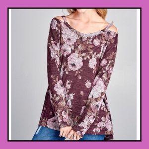 Tops - Keyhole Shoulder Floral Top